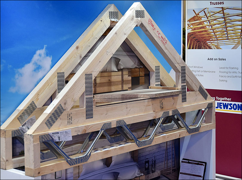 Jewson exhibition stand, roof display closeup