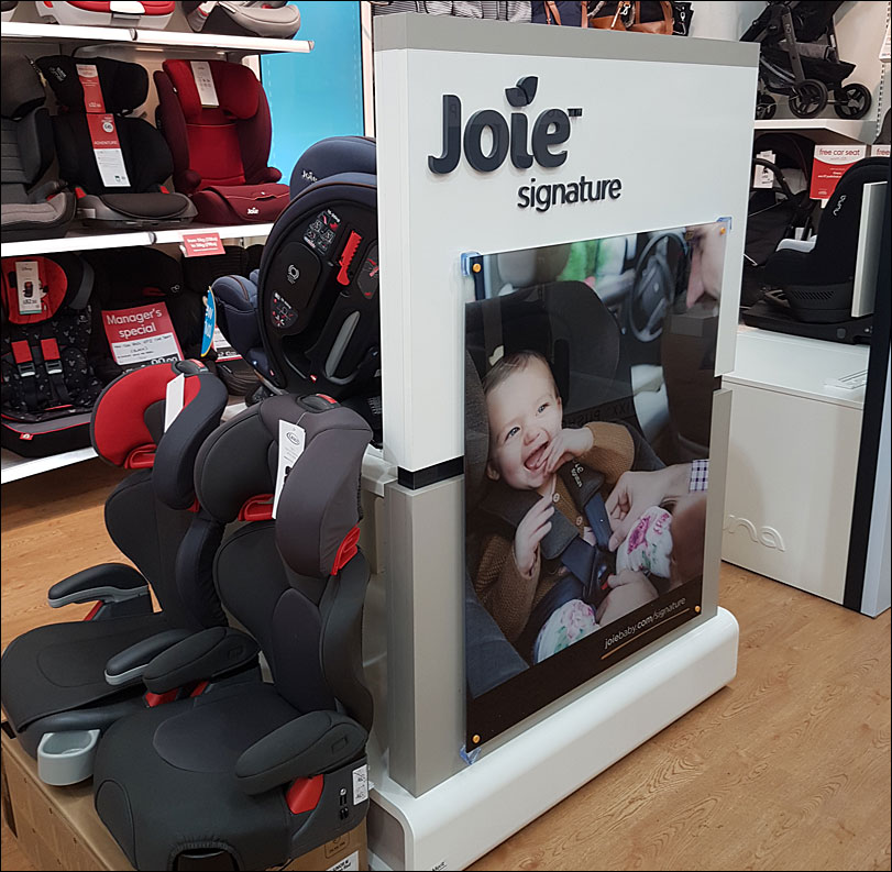 Retail displays for Joie and Nuna in Mothercare.